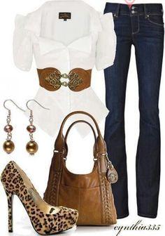 Blanco, jean y animal print