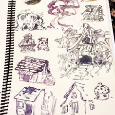 Using left over gouache from my pallete (cause I hate washing away perfectly good paints ) to study Maplestory's background assets :D Magatia Mu Lung Sleepywood and Korean Folk Town  so nostalgic #sketchbook #sketch #drawing #house #maplestory #fanart #brush #art