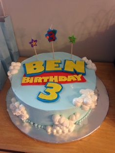 I made the Toy Story letters out of fondant. The rest of the cake was made by th. - Toys for years old happy toys Toy Story Birthday Cake, 13 Birthday Cake, 4th Birthday Parties, 1st Birthdays, Birthday Party Decorations, Boy Birthday, Birthday Ideas, Cumple Toy Story, Festa Toy Story
