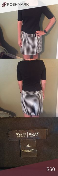 White House Black Market Houndstooth Dress✅offers✅ Adorable dress! Size 2. In perfect condition. Has a cute little belt accent! White House Black Market Dresses