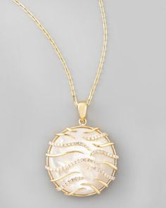O5426 Frederic Sage Luna Small 18k Gold Mother-of-Pearl Pendant Necklace, Yellow #FredericSage