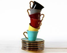Amazing ART DECO SET of 7 cups with saucers by RueDesLouves, $80.00