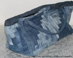 who would not like to get such a beautiful denim log cabin patchwork bag? picture tutorial!