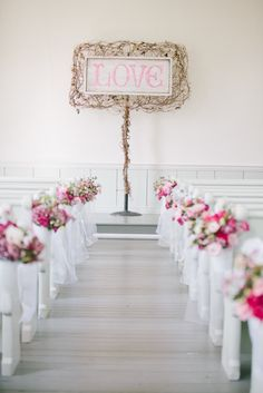 budget rustic wedding decorations indoor ceremony with pink flowers and lace in aisle rebecca arthurs photography Indoor Wedding Ceremonies, Indoor Ceremony, Wedding Ceremony Decorations, Decor Wedding, Backdrop Wedding, Wedding Ideas, Wedding Aisles, Wedding Story, Wedding Pictures