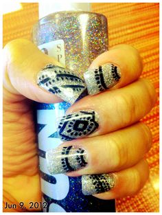Gel Nails with Young Nails Silver glitter