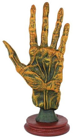 A wonderful tool for magical study, this palmistry hand from Alchemy depicts a human hand as though it were taken from a corpse for study and etched with alchemical symbols and the markings of palmistry. The result is a tool that seems equally suited upon some dusty desk covered in occult works and ancient alchemical formulae as it would be a decoration for the altar or sacred space. $41.95