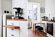 A smart dining solution for a tiny kitchen: A pull-out tabletop hidden in the cabinets.