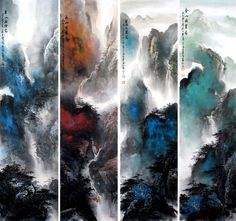 Splash color Abstract art 4ps-Sets Landscape Chinese Ink Brush Painting, Splashing color of landscape paintings 137x34cm * 4 Chinese wall scroll painting Artist original works handwriting Rice paper Traditional art painting. USD $ 2951.00
