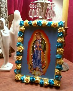 Virgen De Guadalupe Picture Frame with Blinking lights Blue, Yellow, Red, Burgundy Roses