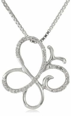 """Sterling Silver Diamond Butterfly Pendant Necklace (1/10 cttw, I-J Color, I3 Clarity), 18"""" Amazon Curated Collection. $49.99. Made in India. All our diamond suppliers certify that to their best knowledge their diamonds are not conflict diamonds.. The total diamond carat weight listed is approximate. Variances may be up to .01 carats.. Save 72%!"""