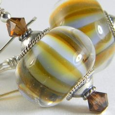 GMD Lampwork Glass Bead Earrings AMBER SKY sterling silver artisan usa SRA