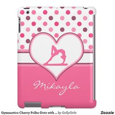 Gymnastics Cherry Polka-Dots with Monogram - Sweet gymnastics iPad case with a cherry inspired polka-dot pattern. It has a heart with a gymnast in the center and a custom text field to easily personalize with your name. ©gollygirls.com