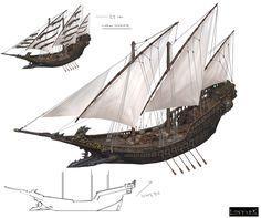 ArtStation - Pirate ship_LostArk, Hwanggyu Kim Fantasy Rpg, Medieval Fantasy, Fantasy Artwork, Concept Ships, Concept Art, Pirate Ship Drawing, Pirate Art, Pirate Ships, Pirate Crafts