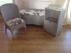 Lloyd Loom Furniture Set Including Bedside Table, Chair And Ottoman