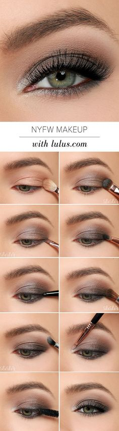 This NYFW-inspired eye makeup tutorial uses gray, black, and metallic silver eye…