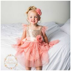 Idea for the younger cousins -Flower girl dress, Pink and gold girl dress,1st Birthday dress,Ivory Tulle dress, coral flower girl dress, Princess dress, Birthday dress, by SweetValentina on Etsy https://www.etsy.com/listing/241684874/flower-girl-dress-pink-and-gold-girl
