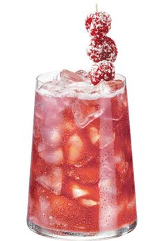 The Pama Kiss...  1 1/2 oz. PAMA Pomegranate Liqueur 3/4 oz. sour apple vodka 1/2 oz. cranberry juice  Mix ingredients in martini shaker. Shake well. Serve on the rocks. Garnish with sugar-dusted raspberries.
