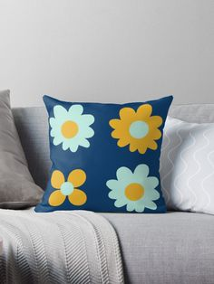 """Cheerful Flowers 2 in Mustard Yellow and Mint Aqua Teal on Navy Blue. Cute Minimalist Floral Pattern"" Throw Pillow by kierkegaard 