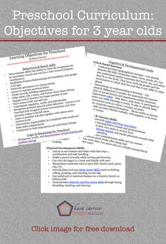 Printable preschool learning objectives to set realistic and measurable goals for teaching toddlers and preschoolers