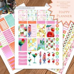 Cocktail Summer Planner Stickers PrintableHappy