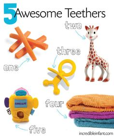 5 Awesome Teethers from The 9 Sure-Fire Signs of Teething at http://incredibleinfant.com/teething-baby/signs-of-teething