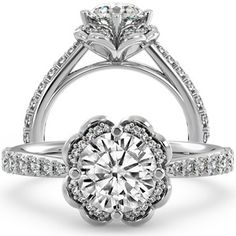 Looks like a clover!  Round Moissanite Floral-Style Engagement Ring