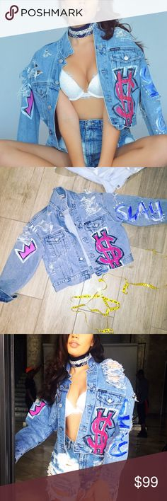 Vintage Guess Jean Jacket Guess Denim Jacket Vintage 90's Guess Cropped Jean Jacket •Hand Painted and Distressed By Me :) This isn't for everybody. Maybe the Rebels and Misfits the backside has a heart with 'fuck off' on the back. I do custom orders if there is something you would like ‼️ Guess Jackets & Coats Jean Jackets