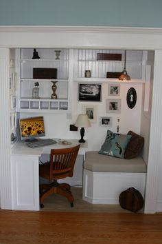 Built in Desk and Reading Nook, We bumped a little bit of space out of our famiy room into the garage (3 x 6) and made a fun built in corner desk with shelving and a storage bench with a cushion for reading.  It has bead board backed shelves and art style walls (salon walls) with photos Ive taken and objects that have meaning to our family., Home Offices Design