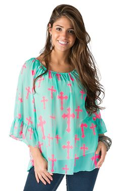 R. Rouge Women's Mint with Neon Pink Cross Print 3/4 Sleeve Chiffon Fashion Top- Plus Sizes