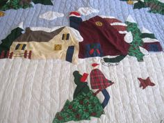 Handmade Vintage Appliqued Embroidered CHRISTMAS QUILT WALL DISPLAY ...