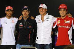 (L to R): Lewis Hamilton (GBR) McLaren, Sebastian Vettel (GER) Red Bull Racing, Michael Schumacher (GER) Mercedes AMG F1 and Fernando Alonso (ESP) Ferrari.  Formula One World Championship, Rd20 Brazilian Grand Prix, Preparations, Sao Paulo, Brazil, 22 November 2012
