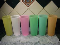 6 Vintage Tupperware Tumblers with Lids by SallysVintageKitchen