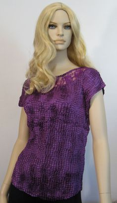 Polyester Solid Regular Size Tops & Blouses for Women Popcorn Shirts, Blouses For Women, High Neck Dress, Short Sleeve Dresses, Purple, Lace, Shopping, Tops, Fashion