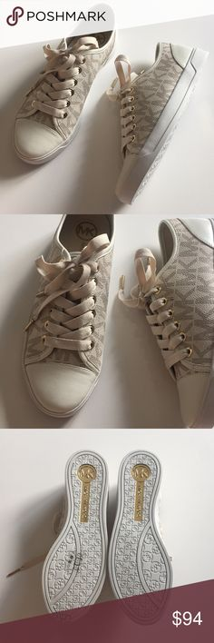MICHAEL KORS - beige sneakers! These shoes are brand new but they don't have tags attached. They are in perfect condition and they have never been worn. They are a size 7.5! They are super adorable and comfortable! They do not come with the box! DONT SELL THESE ANYMORE! KORS Michael Kors Shoes Sneakers