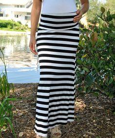 Mommylicious Black & White Stripe Maternity Maxi Skirt by Mommylicious Maternity #zulily #zulilyfinds