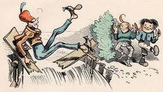 Dieses ist der dritte Streich  ...Max und Moritz, gar nicht träge,  Sägen heimlich mit der Säge,  Ritzeratze! voller Tücke,  In die Brücke eine Lücke.  ...