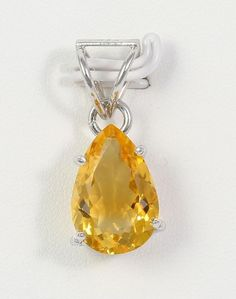 Women's Yellow Pear Shape Citrine Gemstone 925 Sterling Silver Necklace Pendant