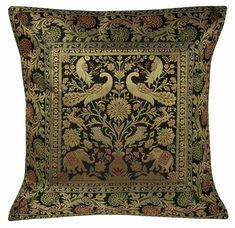 Indian Elephant Design Brocade Silk Square Throw Pillow Sham Cushion Cover 5 Pcs #Handmade #Indian Pillow Shams, Pillow Covers, Indian Elephant, Elephant Design, Cushions, Throw Pillows, Silk, Handmade, Toss Pillows