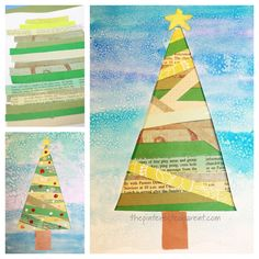 These beautiful mixed media Christmas trees are so pretty and easy to make and a great way to use up old scrap paper pieces. Christmas Tree Template, Christmas Cards, Christmas Trees, Tree Templates, Poinsettia Flower, Different Shades Of Green, Winter Art, Painted Paper, Colored Paper
