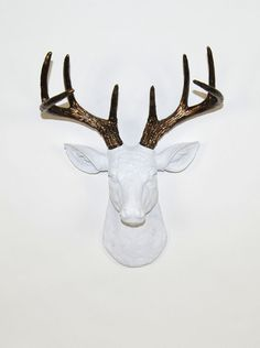 The MINI Lydia | Stag Deer Head | Faux Taxidermy | White Resin w/Bronze Antlers