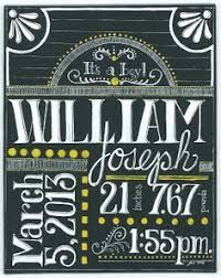 Image Result For Chalkboard Birth Announcement Template