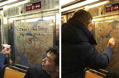 Passengers On A NYC Subway Worked Together To Remove Nazi Graffiti And People Are Inspired