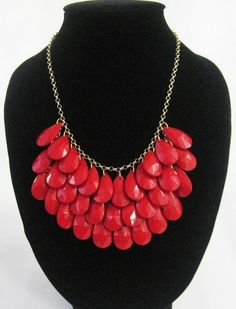 handmade red teardrop bubble bib necklace, bubble necklace, bubble jewelry