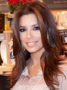 Eva Longoria at a book signing for Eva's Kitchen: Cooking With Love for Family and Friends in Miami, Florida.      Read more: Brunette Celebrity Hairstyles - Hair Ideas from Brunette Celebrities - Real Beauty