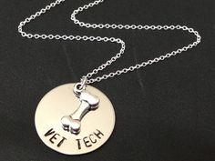 VET TECH Dog Bone Necklace or Keychain-Hand Stamped Jewelry - Personalized Jewelry -  Stainless steel - Pet Jewelry - Dog bone Charm by Ashijewelers on Etsy