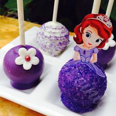 Sofia the First Cake Pops by: Stick A Cake In It