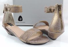 AdamTucker Me Too 6.5 M LEXA Gold Antique Metallic Suede Women's Wedge Sandals #MeToo #AnkleStrap