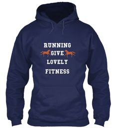 Running Give Lovely Fitness Navy Sweatshirt Front