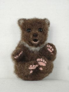 Needle Felted Grizzly Bear Cub by FireflyFelts on Etsy