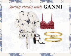 Spring Fling #fashion #Outfit #Ganni #shopping #gold #rings #ring #jewellery #jewelry #lacebra #flowers #heels #hvisk #Johanneappel #hviskstylist #hviskjewellery #spring